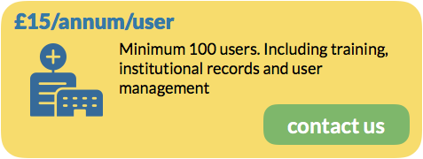 £15/annum/user, Minimum 100 users. Including training, institutional records and user management. Contact Us